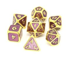 Mythica Gold Amethyst Metal Polyhedral 7 Dice Set