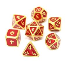 Mythica Satin Gold Ruby Metal Polyhedral 7 Dice Set