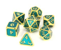 Mythica Gold Aquamarine Metal Polyhedral 7 Dice Set