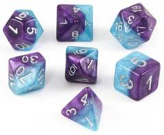 Psionic Combat Dice - Violet & Cyan Polyhedral 7-Dice Set - GKG 235