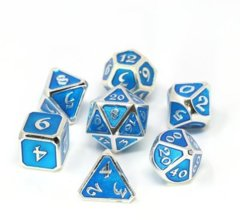 Mythica Platinum Aquamarine Metal Polyhedral 7 Dice Set