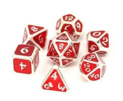 Mythica Platinum Ruby Metal Polyhedral 7 Dice Set