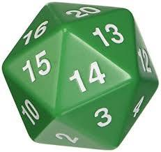 Opaque: 55mm D20 Countdown Green/White Php495