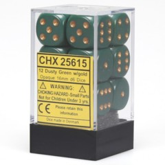 Chessex 12 Dusty Green w/copper Opaque 16mm D6 Dice Block - CHX25615 (₱349)