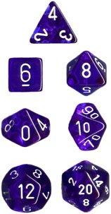 Translucent Blue/white Polyhedral 7-Die Set CHX23076