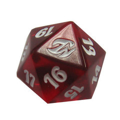 Red 20-Sided Fire & Lightning Life Counter Dice/Die on Channel Fireball