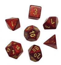 Glitter Ruby red/gold Polyhedral 7-Die Set CHX27504 on Channel Fireball