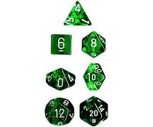 Translucent Green/white Polyhedral 7-Die Set CHX23075