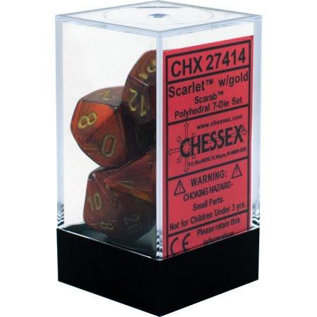 Scarab Scarlet/gold Polyhedral 7-Die Set CHX27414