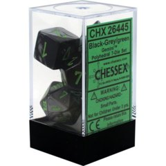 Gemini Black-Grey/green Polyhedral 7-Die Set CHX26445 on Channel Fireball