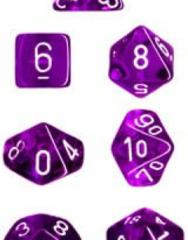 Translucent Purple/white Polyhedral 7-Die Set CHX23077