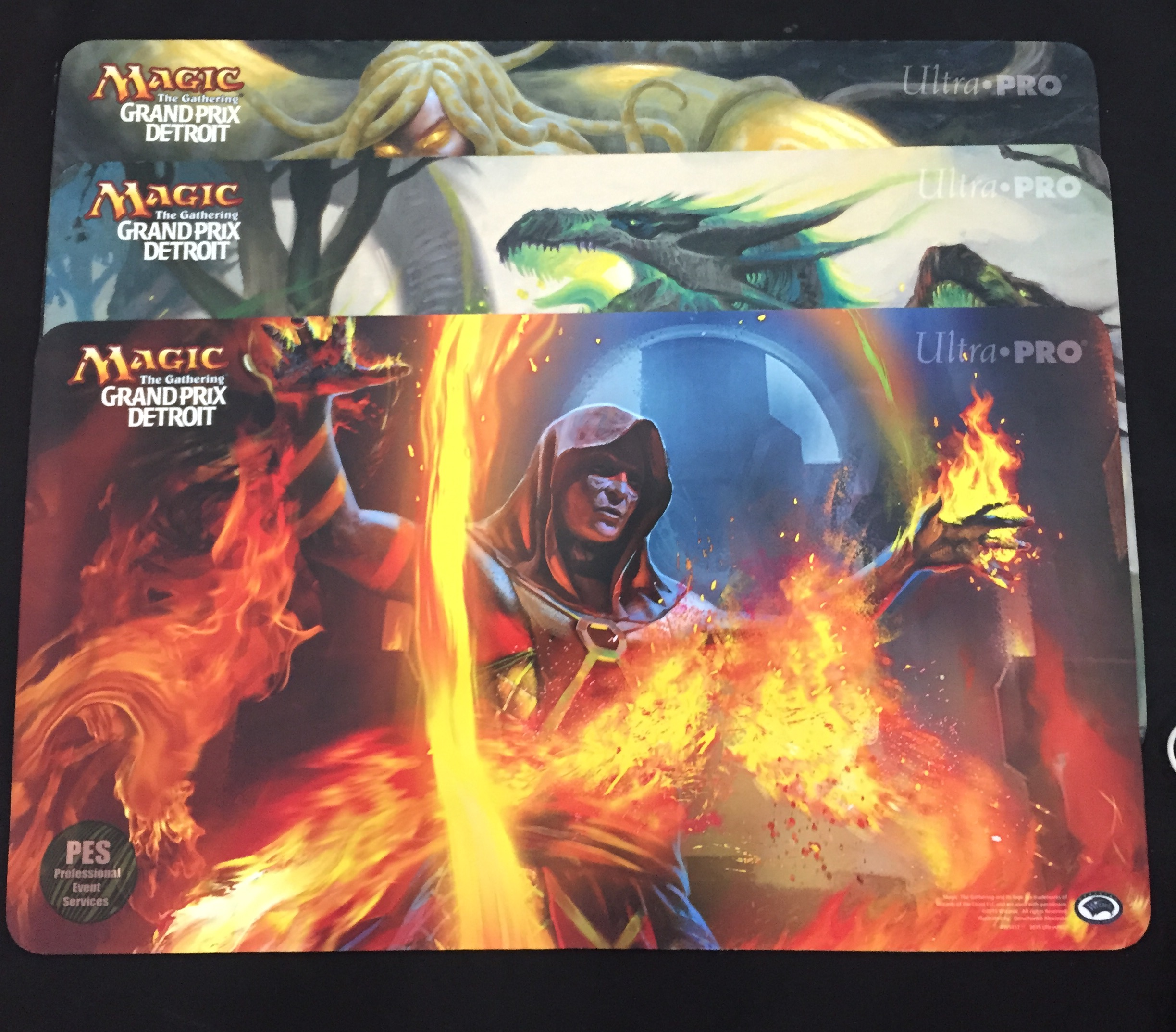 GP Detroit 2015 Set of 3 Playmats - Abbot of Keral Keep, Evolutionary Leap, Managorger Hydra