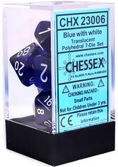 Translucent Blue/white Polyhedral 7-Die Set CHX23006