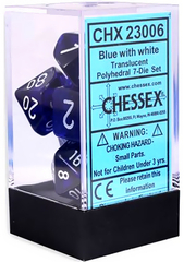 Translucent Blue/white Polyhedral 7-Die Set CHX23006