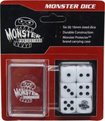 Six White 6-Sided Monster Dice with Carrying Case
