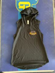Ladies black hooded sleeveless shirt