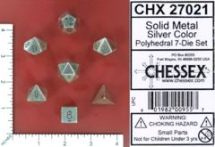 Solid Metal Silver Polyhedral 7 Dice Set - CHX27021