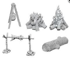 WizKids Deep Cuts Unpainted Miniatures: W10 Camp Fire & Sitting Log
