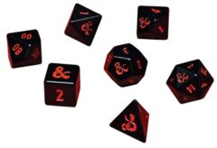 Dungeons and Dragons RPG: Heavy Metal - Poly Black and Red Dice Set (7)