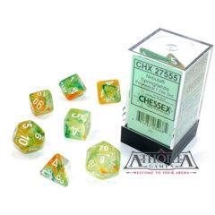 27555 Chessex Luminary Nebula Spring/White 7  piece dice set