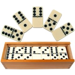 Set of 28 Double Six Dominoes with Wood Case
