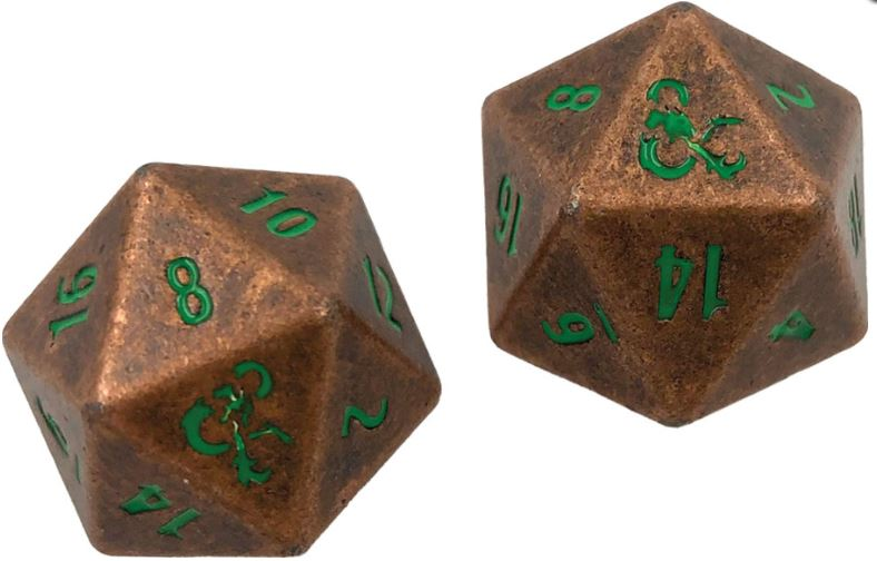 Dungeons & Dragons RPG: Heavy Metal Copper and Green D20 Dice Set
