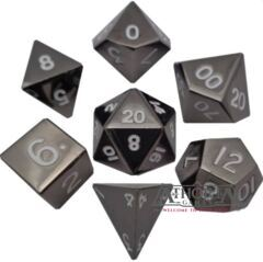 16mm Sterling Gray Metal Polyhedral Dice Set