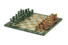 Marble Chess Set - Green & Tan (16