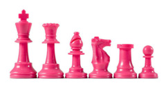 Pink Plastic Chess Pieces