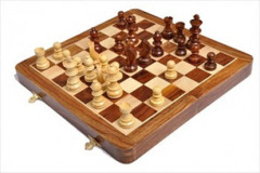 Folding Wooden Magnetic Travel Chess Set - 12