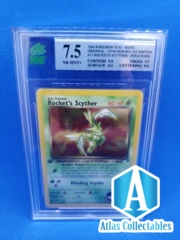 Pokemon MNT 7.5 (like PSA) NM-MT First 1st Edition Gym Heroes Holo Rockets Scyther 13/132