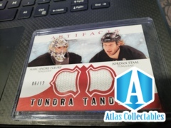 2012-13 Artifacts Tundra Tandems Fight Straps Red - Fleury Staal Dual Jersey 6/12