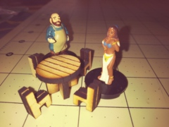 Round Table with 4 chairs  D&D miniature hand crafted