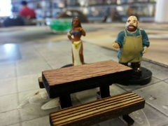 Rectangular Table with 2 benches  D&D scale miniature