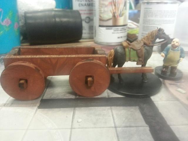 4 wheel Wagon w long bed     D&D Miniature scale