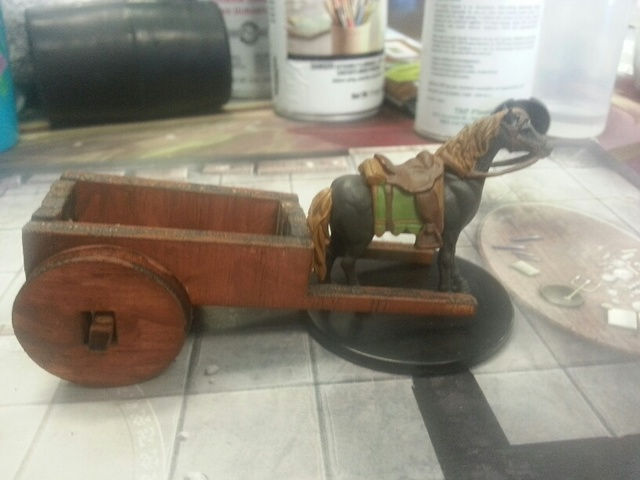 2 wheel Wagon D&D scale miniature - Other Fantasy 28mm Miniatures
