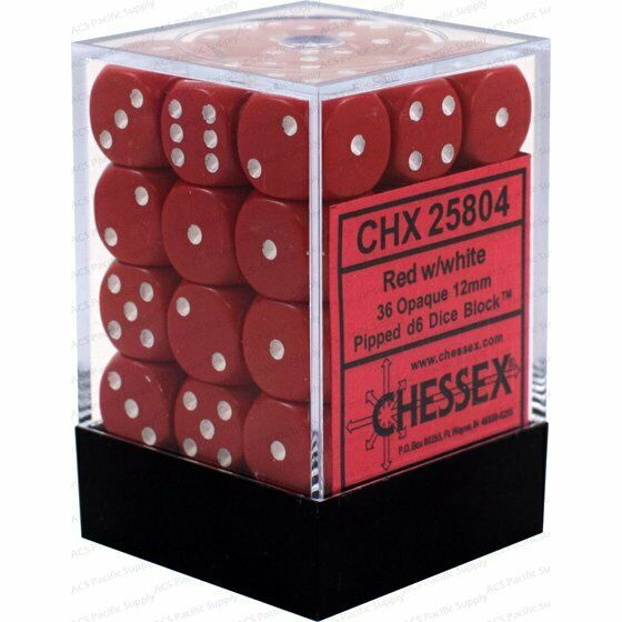Chessex Opaque 12mm d6 with pips - Dice Blocks (36 Dice) - Red w/white