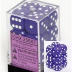 Chessex Opaque 16mm d6 with pips - Dice Blocks (12 Dice) - Purple w/white
