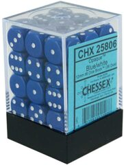 Chessex Opaque 12mm d6 with pips - Dice Blocks (36 Dice)  - Blue w/white