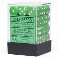 Chessex Opaque 12mm d6 with pips - Dice Blocks (36 Dice) - Green w/white