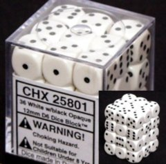 Chessex Dice - 12mm d6 36ct - Opaque