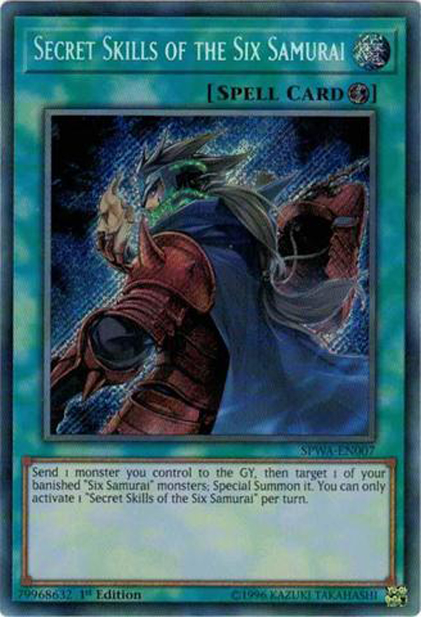 Secret Skills of the Six Samurai Secret Rare SPWA-EN007 N 1st Edition x3
