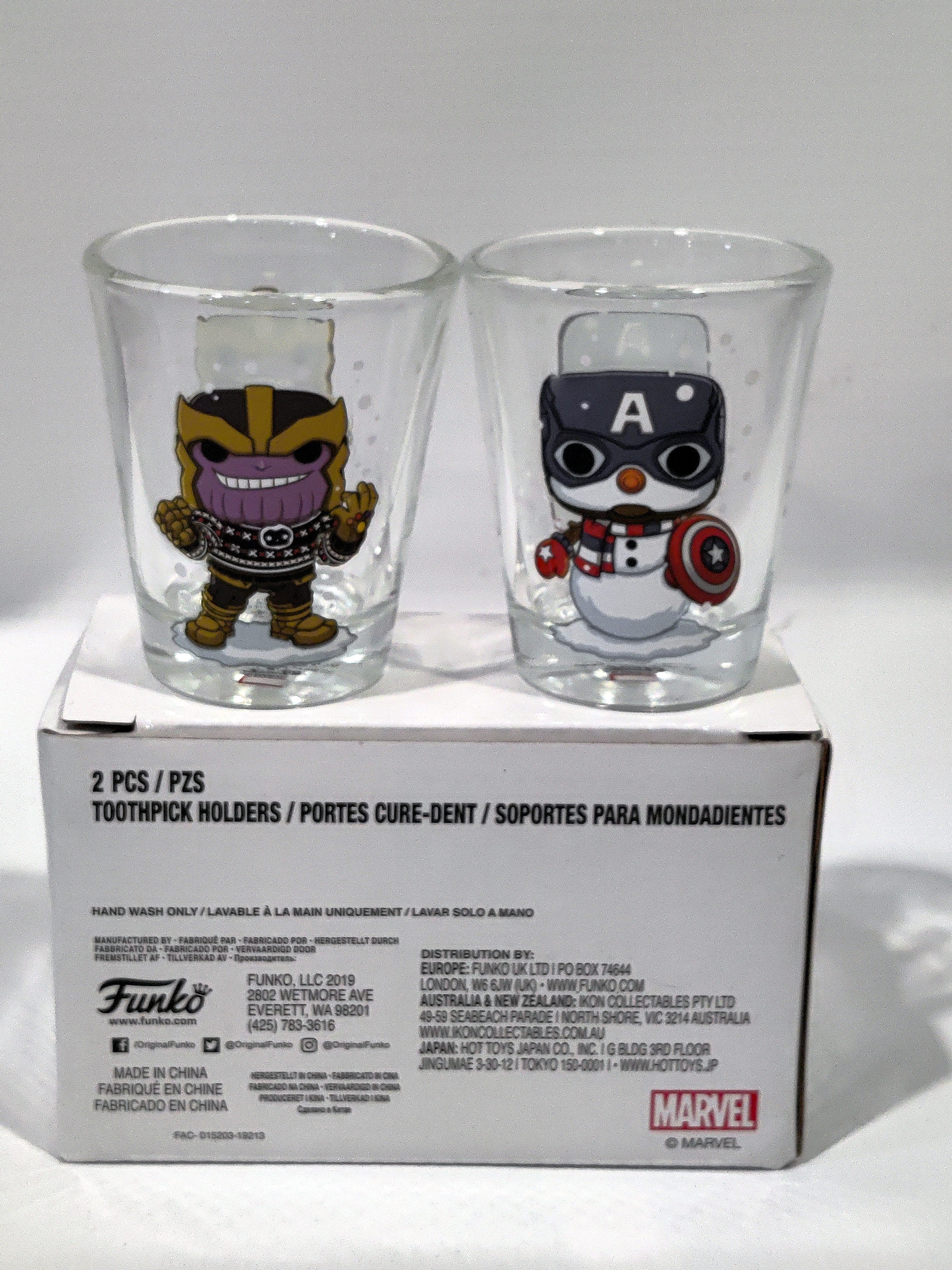 Funko Snowman Captain America & Holiday Sweater Thanos Shot Glass (2-Pack)