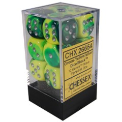 12 D6 Dice Block - 16mm Gemini Green-Yellow with Silver - CHX26654