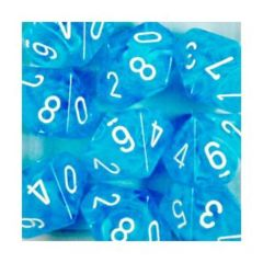 10 D10 Dice Set - Cirrus Light Blue with White - CHX27246