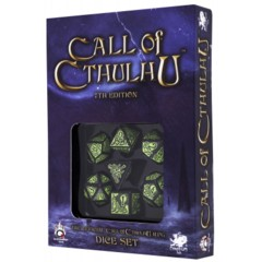 Q-Workshop - Call of Cthulhu 7-die RPG Dice Set (Black / Green 7th Edition)