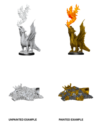 Dragon, Gold (Wyrmling) & Small Treasure Pile (90028)