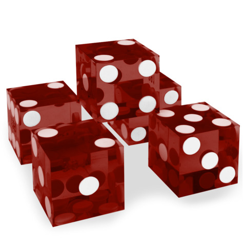 Precision Dice with Matching Serial Numbers (5 New Red 19mm Grade A)