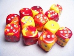12 D6 Dice Block - 16mm Gemini Red-Yellow with Silver - CHX26650