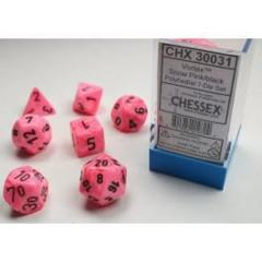 7-die Polyhedral Set - Vortex Snow Pink with Black - CHX30031 (Black Light Reactive!)
